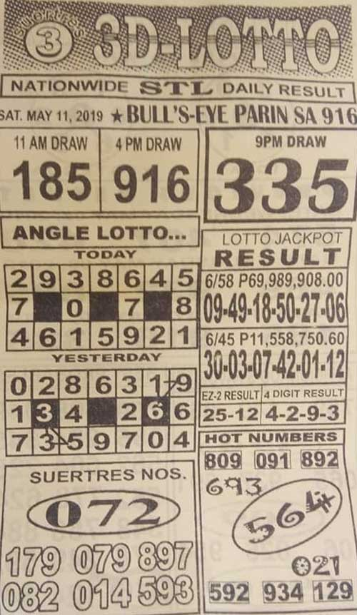3D Lotto Hot Numbers May 11, 2019