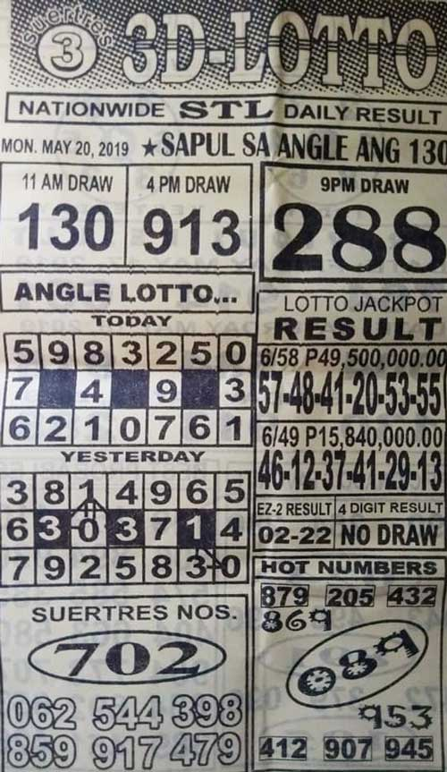 3D Lotto Hot Numbers May 20, 2019