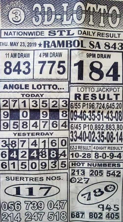 3D Lotto Hot Numbers May 23, 2019