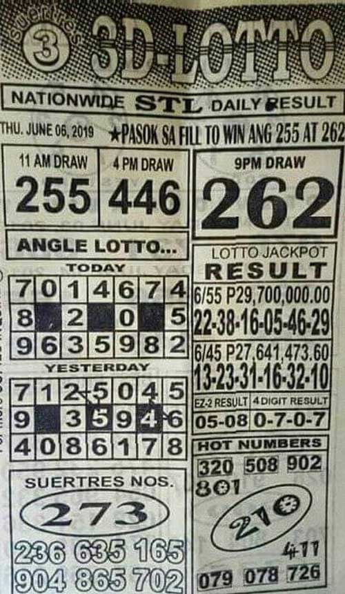 3D Lotto Hot Numbers June 6, 2019